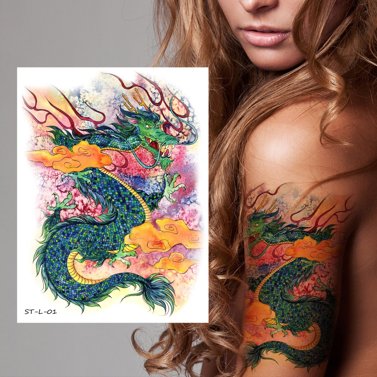 f9ee6c47b Get Quotations · Supperb Temporary Tattoos - Gorgeous Green Dragon in  Clouds, Dragon Temporary Tattoos