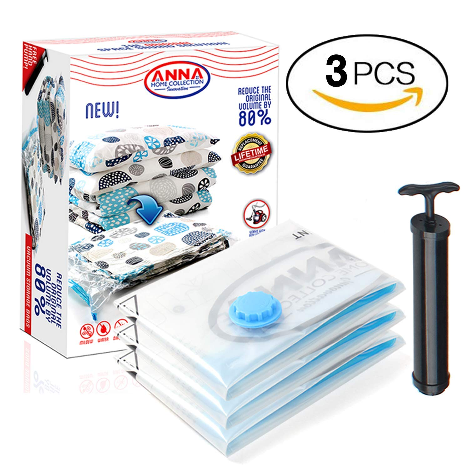 Anna Home Jumbo Vacuum Storage Bags (3 Jumbo) Space Saver Storage Bags for Travel. Durable and Reusable, Travel Hand Pump Included