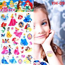 Congelou Elsa Anna tatuagem temporária adesivos crianças 21 * 10 cm à prova d ' água princesa adesivos Tatoo para crianças príncipe frete grátis