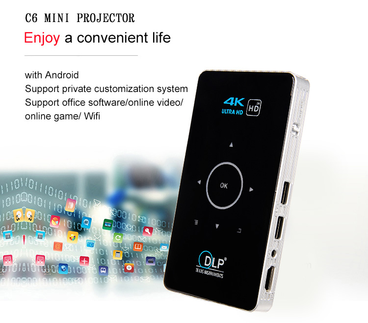 C6 LED android 5.1 Mini Smart Projector Amlogic S905 Quad Core H96p Projector