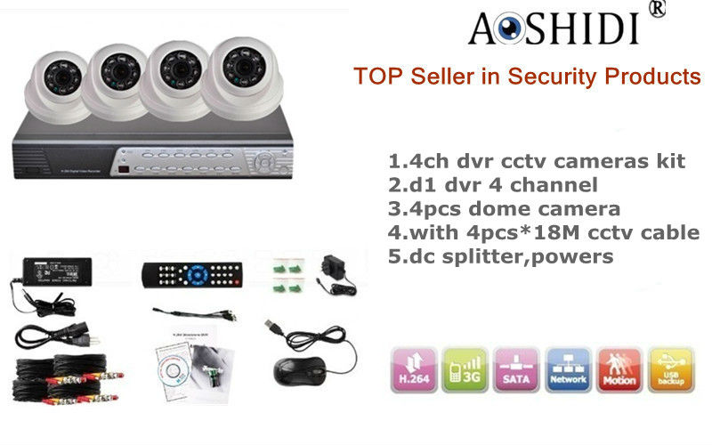 Aoshidi AD-DK310 Support 2TB HDD,Motion detection alarm,Snapshot email alert,mobile remote view,cctv 4ch dvr kit
