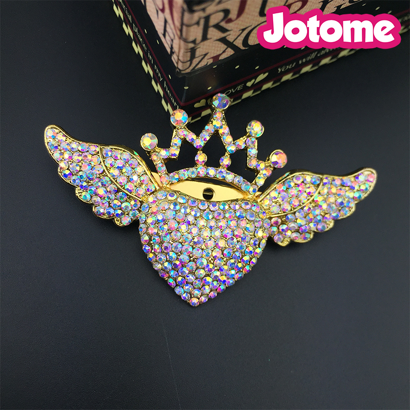 AB Austrian Crystal Heart Angel Wing Crown Brooch for Dress Accessories Gift for Party Girlfriend