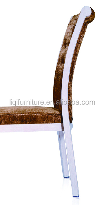 strong wood imitation aluminum upholstered stacking hotel restaurant dining chair QL-B322