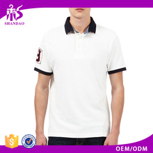 2016 Guangzhou Wholesale Manufacturer High Quality 200g 35%Cotton 65%Polyester Short Sleeve Custom Rib Collar Men Clothing