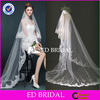 Factory Custom Made Lace Appliqued White Tulle Long Wedding Veil