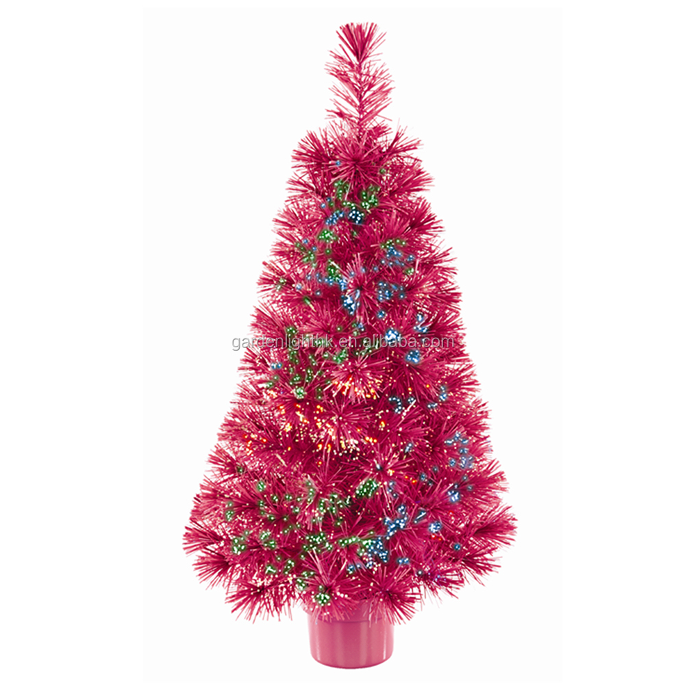 Holiday Time Manufacturer Ed 32in Color Changing Led Fiber Optic Red Christmas Potted Tree