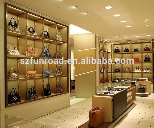Modern style luxury handbag shoes display stand with glass cabinet