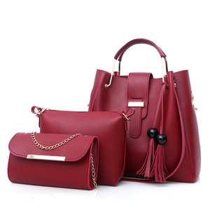 Fashion Women Lady Handbag Shoulder Bags Tassels 3 In 1 Set Women Handbag Guangzhou Wholesale