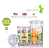 300/350/430/520/550/660ml Wholesale food container for packaging nuts candys transparent plastic tin can