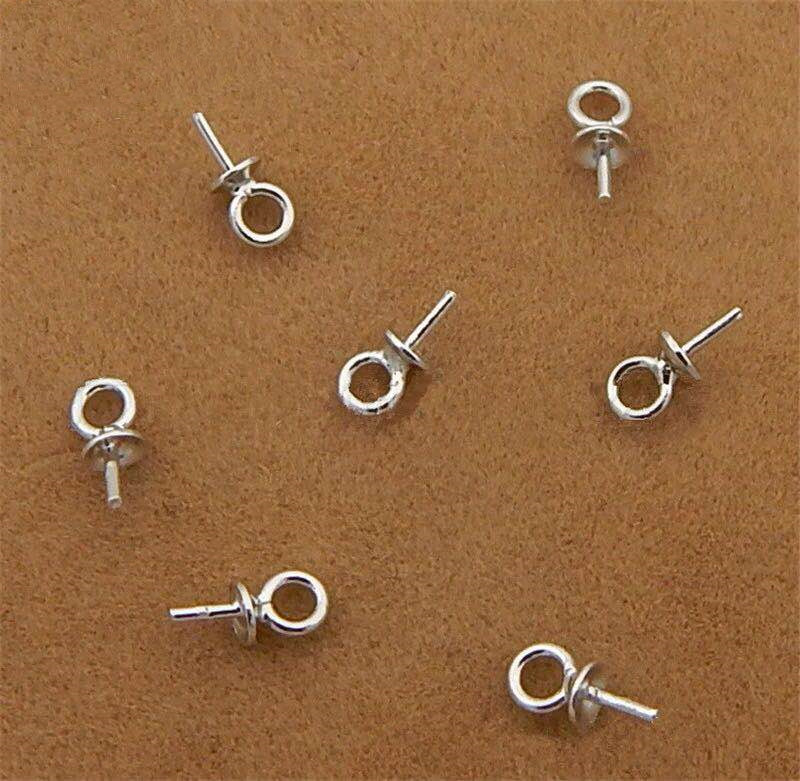 925 Sterling Silver Half hole Charms Pins Pendant Screw Eye Pin Bail For Charms Top Drilled Jewelry Accessories