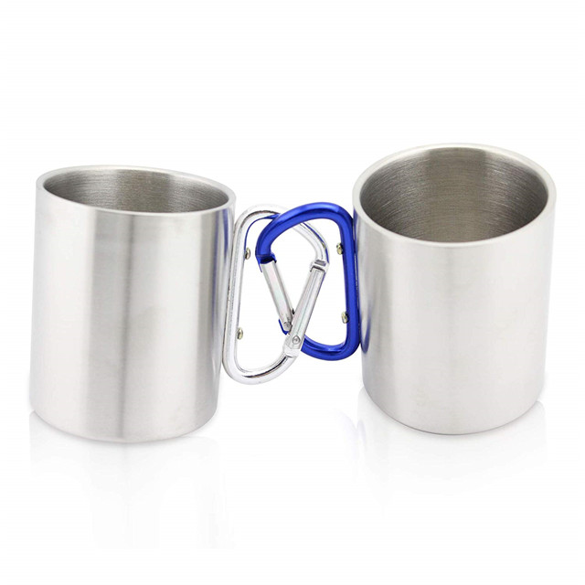 Stainless Steel Portable Travel Water Tea Coffee Mug with D-Ring Carabiner Hook