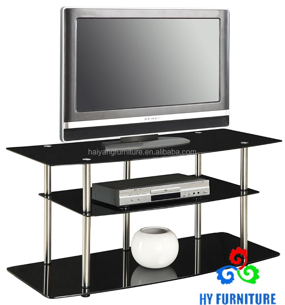 Modern glass metal display table tv stand 3 tier glass stand for storage wholesale
