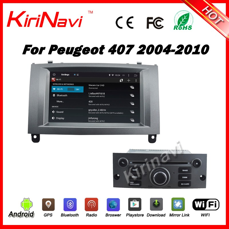 Kirinavi WC-PT7407 Android 5.1.1 car multimedia mp3 mp4 player for peugeot 407 2004-2010 touch screen gps system wifi 3g SW BT