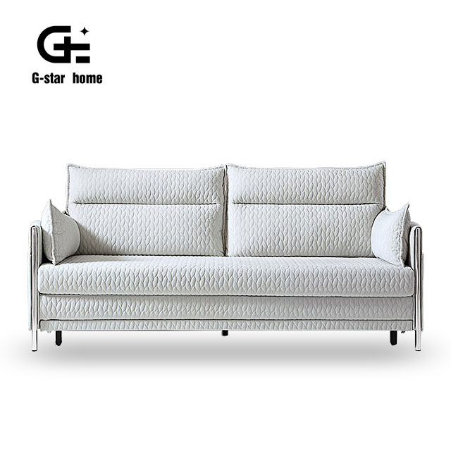 Metal Frame Leather and Fabric Cover Factory Price Living Room Furniture Ajustable Folding Sofa Bed