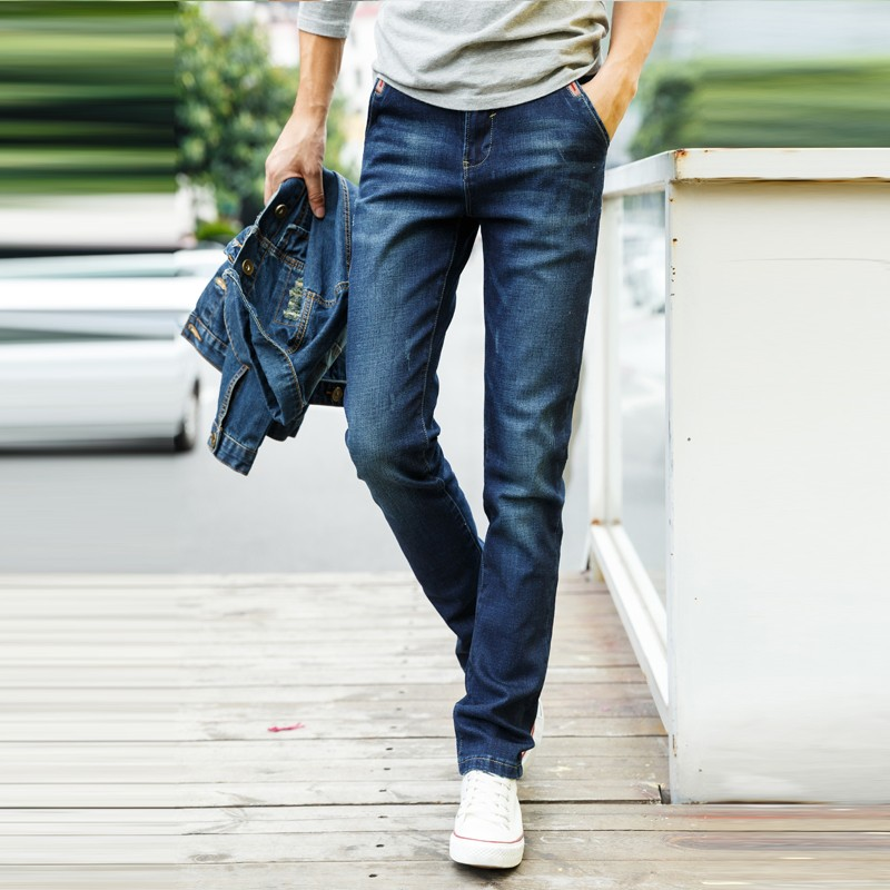 New Style Elastic Jeans Pent Men Wearing Tight Damaged ...