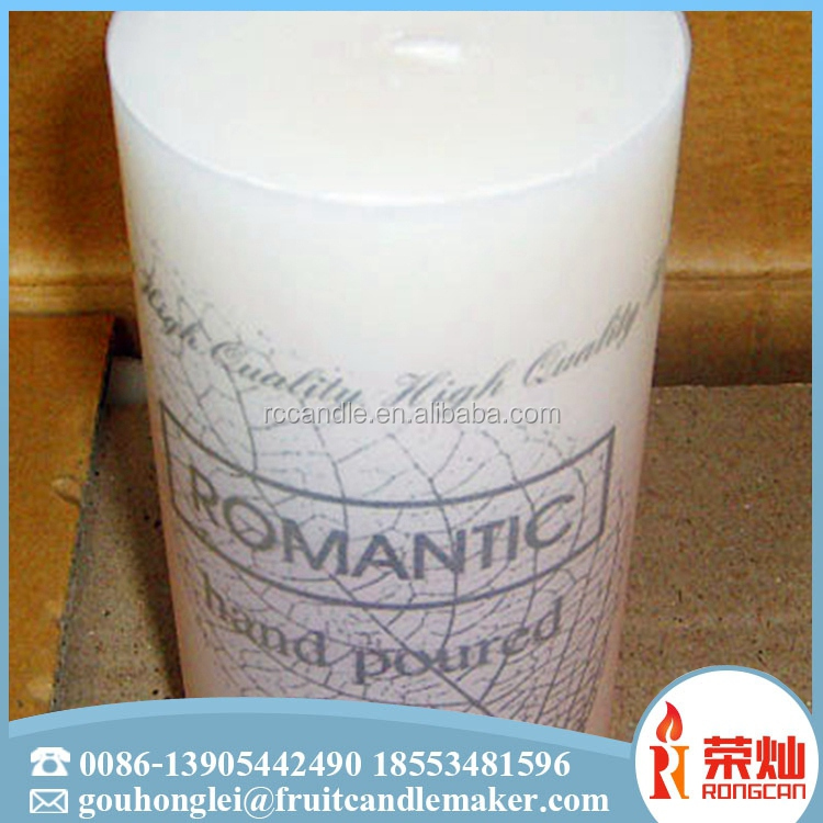 China wholesale big size paraffin wax orange pillar candle with long burning time for decoration