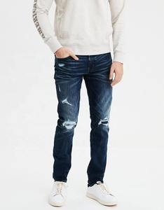 American brand quality dark blue washed distressed knee ripped patch slim fit jeans for men