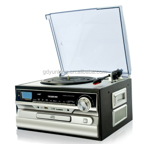 OEM Classical 33/45/78 RPM Turntable with AM FM Radio CD Cassette/ USB Recorder & MP3 Player with EMC,UL certificate