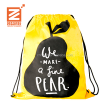 Wholesale High quality recyclable waterproof custom printed wearing Backpack Drawstring bag