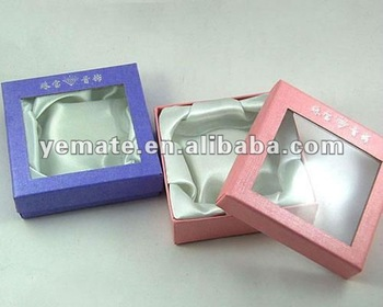 Paper gift boxes clear lid gift box with clear window for Small cardboard jewelry boxes with lids
