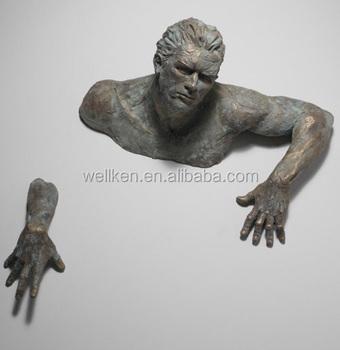 Climbing Man Wall Art climbing man wall sculpture in anique bronze colour - buy antique