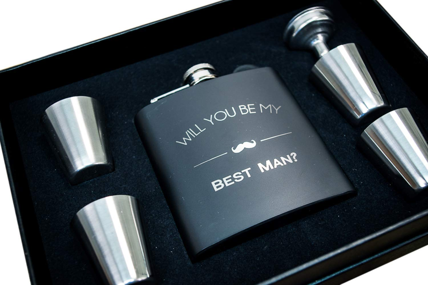 Will You Be My Best Man Flask Box Set- Best Man Proposal Gifts- Whiskey Flasks For Asking Best Men – Extra Thick 5mil #304 Stainless Steel, Laser Engraved, Leak Proof Kit Bestman 652