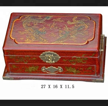 Red Dragon Phoenix Fengshui Leather Antique Hand Painted Art Oriental Lacquer Jewelry Box Abacus Kit Ornament Tools Product