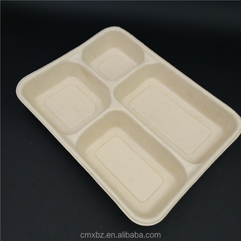 Biodegradable 4 compartment brown recycle kraft paper lunch box