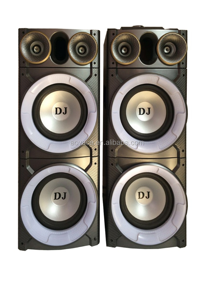 "2.0 multimedia dual 8"" stage speaker home theater with colorful round light"