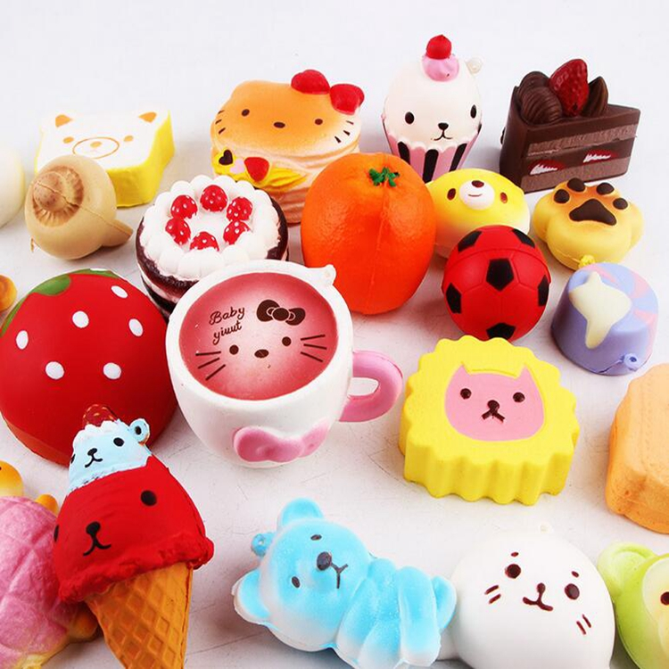 Squishy Toys Pack : 12pcs/pack Random Cheap Jumbo Squishies Slow Rising Medium Mini Soft Toys With Cake Bread Peach ...