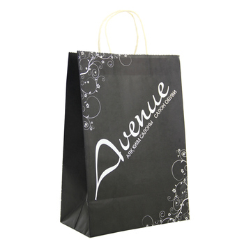 5c51fc3804f China wholesale supplier logo printing black kraft paper bag with handles  white different types