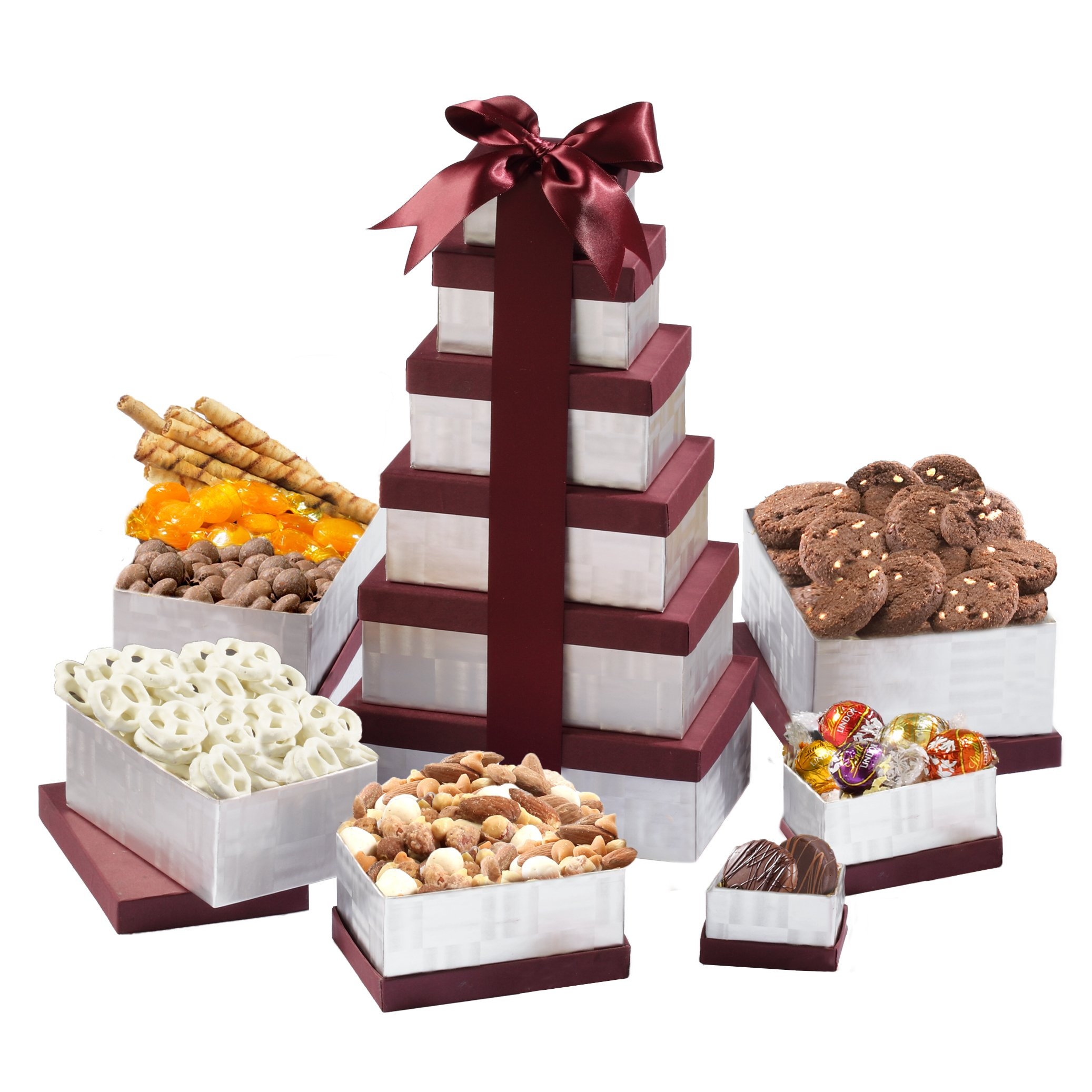 Broadway Basketeers Birthday Celebration Gift Tower With A Gourmet Assortment Of Sweets Nuts Pastries