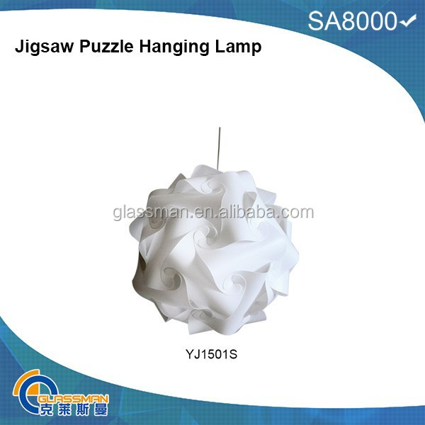 DIY PP LAMP SHADE YJ1501S,Jigsaw Puzzle Hanging Lamp FLAT PACKING