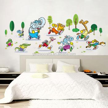 anak kamar bayi perlindungan hewan menjalankan wall sticker
