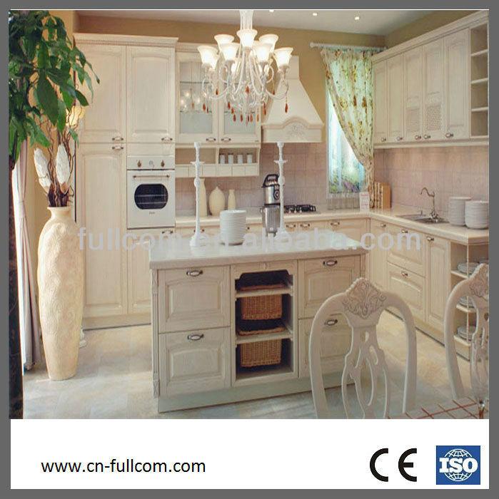 País moderno estilo blanco de madera maciza gabinetes de la cocina ...