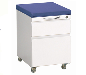 Customized Metal 2 Drawer Aluminum Handle Mobile Pedestal File Cabinet With Cushion Top