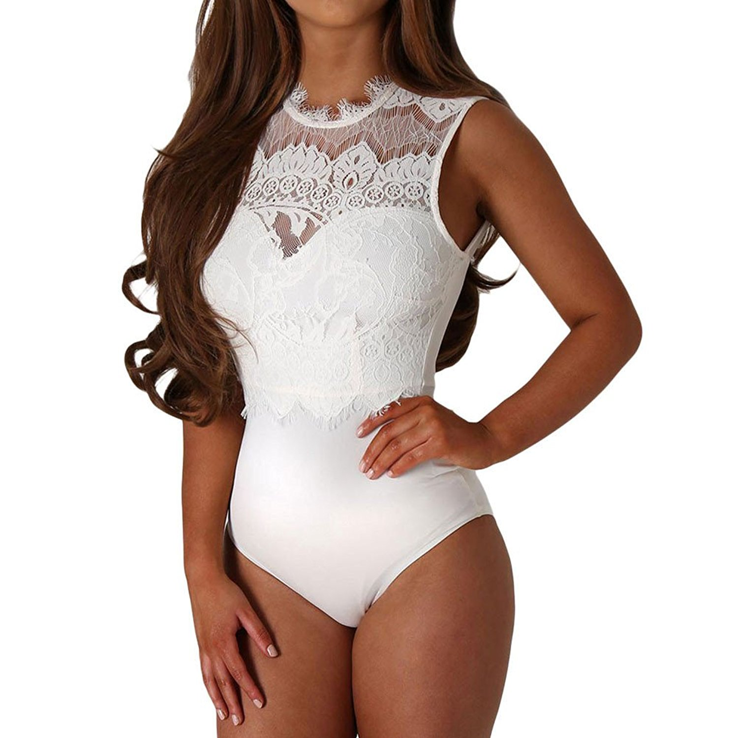 2204a43503a1 Get Quotations · SUBWELL Women s Hollow Out Lace Backless Bodycon Shapewear  Thong Bodysuit Jumpsuit Sexy Tops
