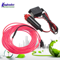 Amazing Neon Glow Thread Wire El 2.3mm 5m with DC12V Car Cigarette Lighter Inverter 10 colors to choose