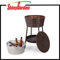 Outdoor Rattan Ice Bucket All-Weather Beverage Beer Cooler Table