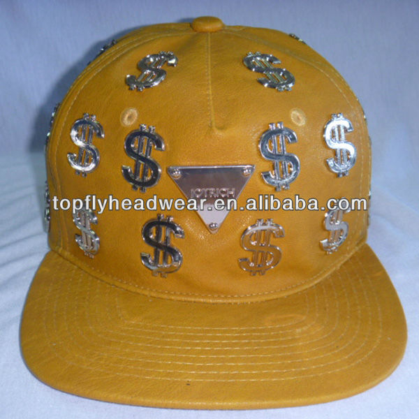 Yellow leather with metal $ all over the cap character fashion leisure street style baseball fitted cap and hat