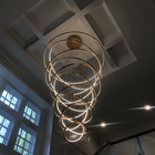 Pendant Light Chandelier Pendant Light L4u Customs Gold Brass 8 Rings Circular LED Pendant Light Luxury Chandelier Modern Hanging Lamp For Staircase