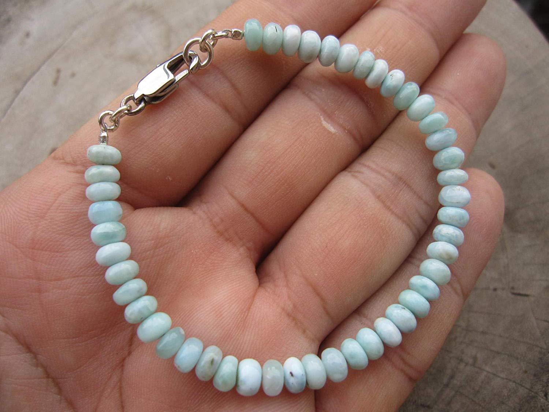 Genuine Dominican Larimar Bead Bracelet,LARIMAR smooth rondelle beads,Custom size - 6,6.5,7,7.5,8,8.5