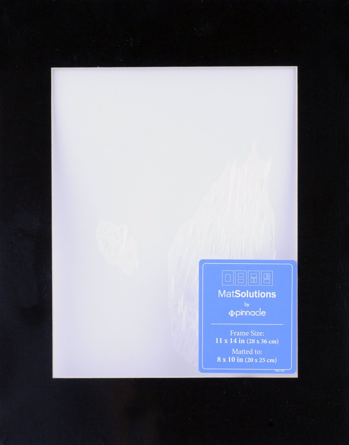 Gallery Solutions Custom Bevel Cut Mat for 11x14 Picture Frame with 7.5x9.5 Opening in Black