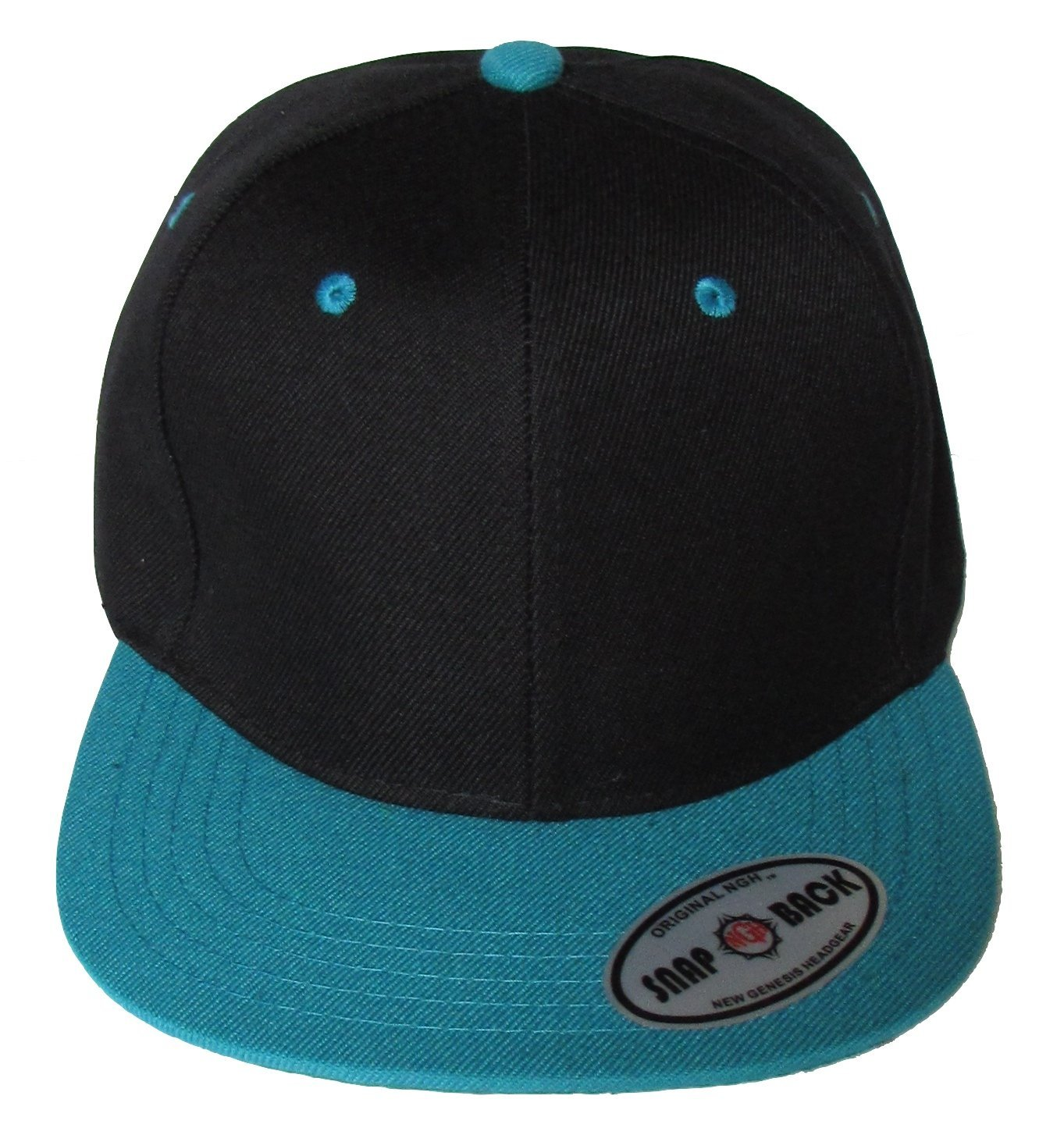 db6b7a6d193 New Plain Snapback Baseball Caps Flat bill Two Tone Black   Aqua Bill