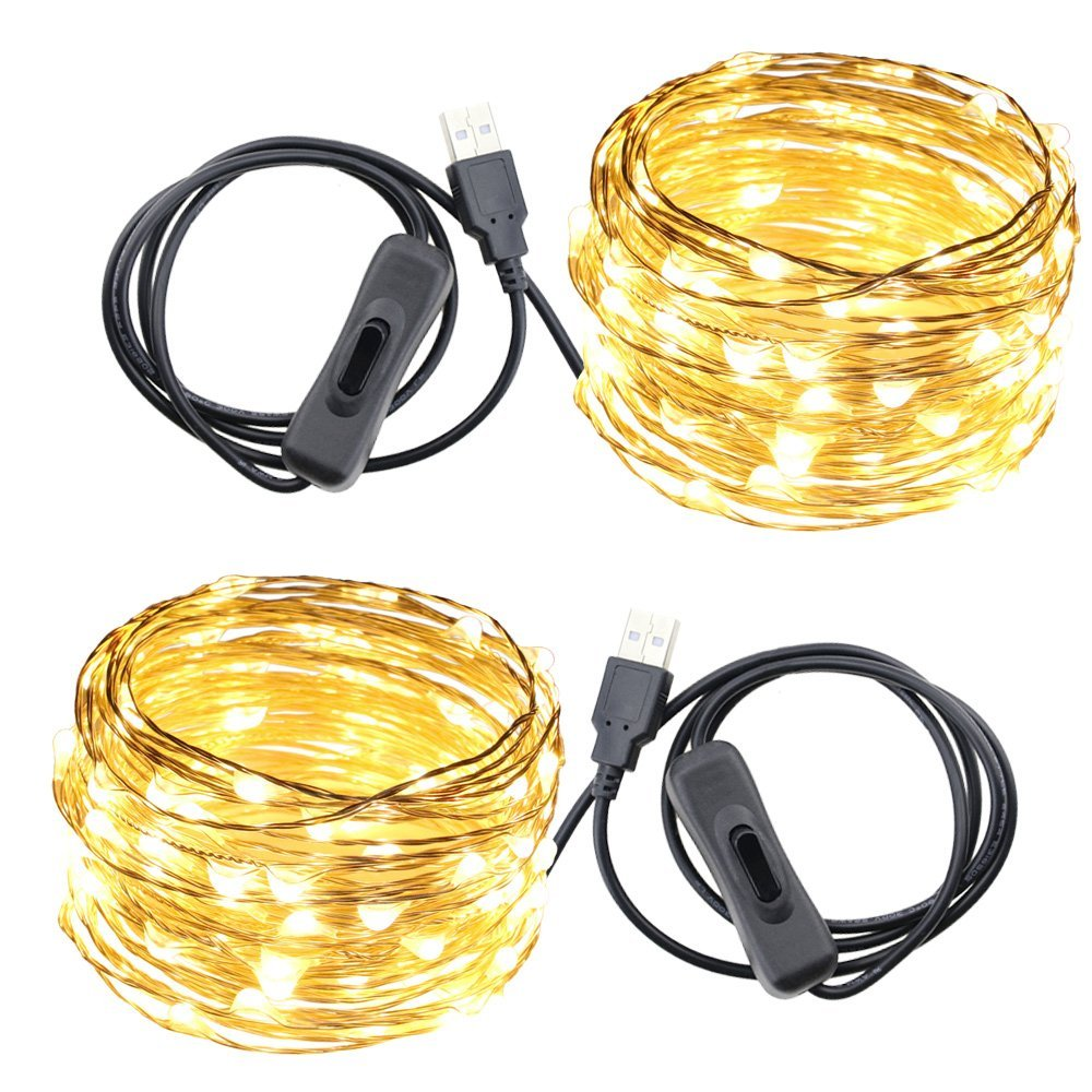 USB Led String Lights,ER CHEN(TM) 100 Leds 33Ft Waterproof Silver Wire String lights with ON/OFF Switch for Bedroom, Patio, Party, Wedding, Christmas Decorative Lights(Warm White,2-Pack)