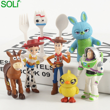 Action Figure Toy Story 4 Figure 7pcs Buzz Light year Tracy Woody Aliens Jessie Dragon Forky Set Models Toys