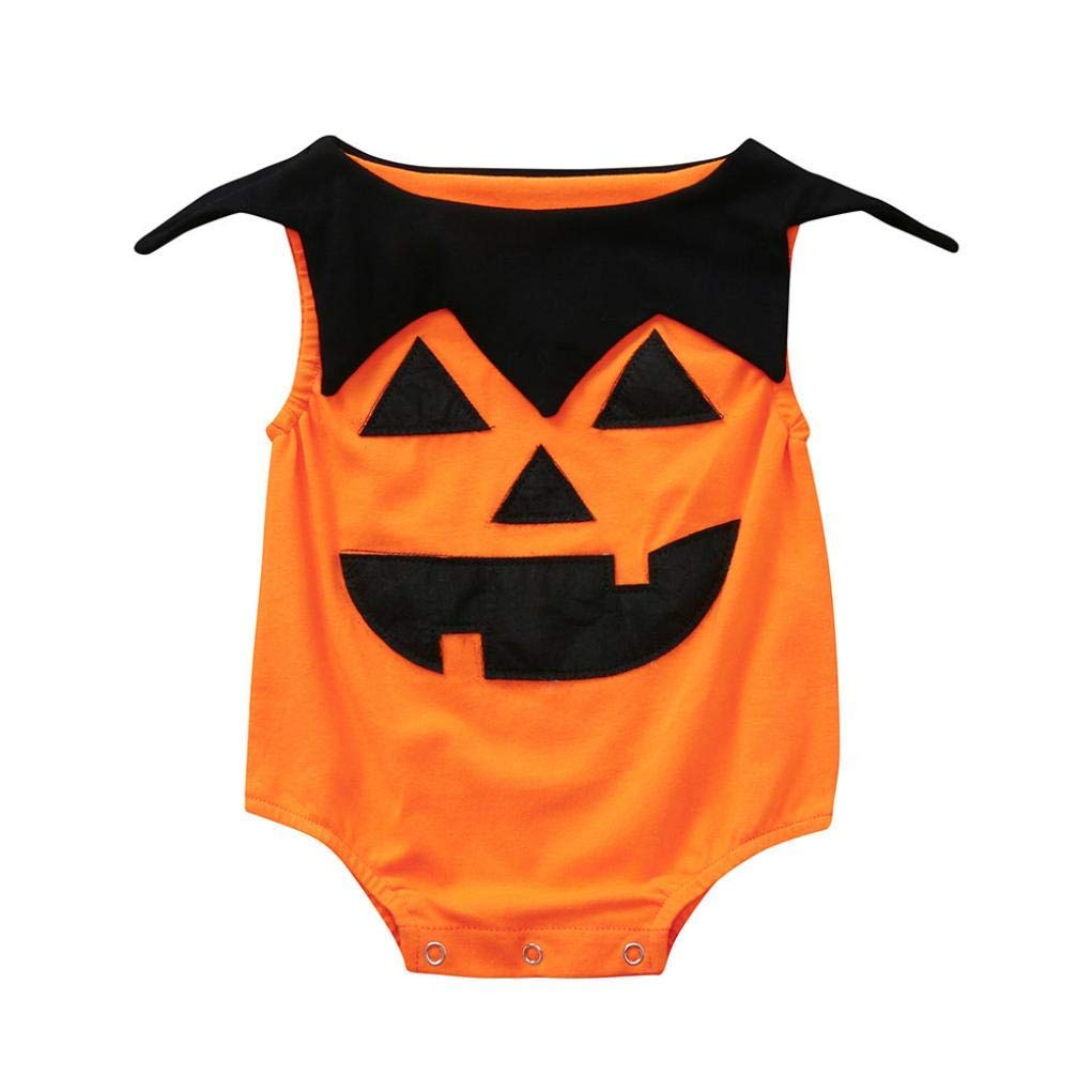 Halloween Jumpsuit Newborn Toddler Infant Baby Girls Boys Sleeveless Pumpkin Print Romper Outfits (0-6 Months, Orange)