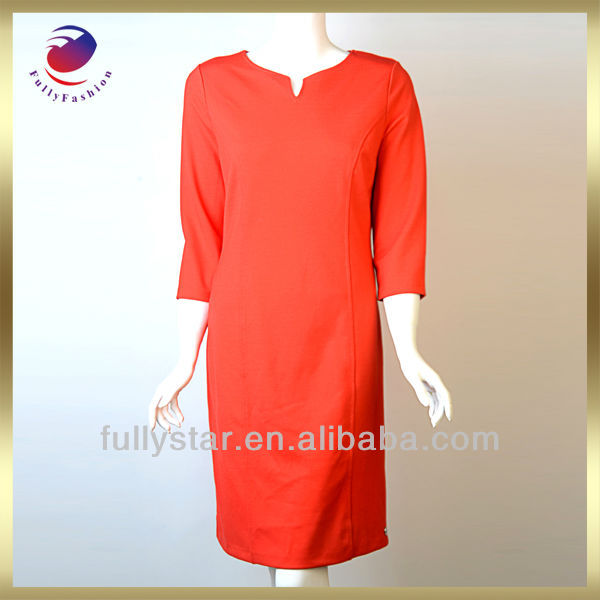ladies office wear dresses dress red long sleeve elegant style