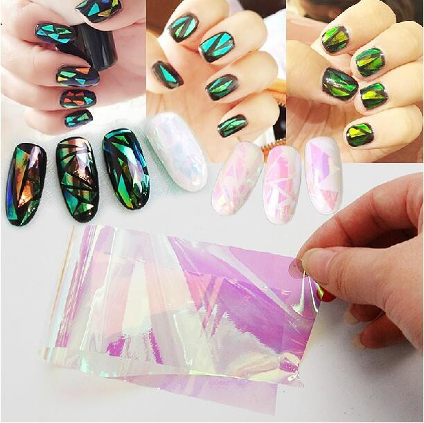 BIN Wholesale 4*100cm Nail Art Sticker Laser Glass Nail Foils