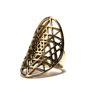 Wholesale best price gold tone stainless steel sri yantra ring for women